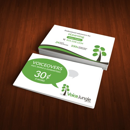 Two-sided business card for popular website, VoiceJungle.com
