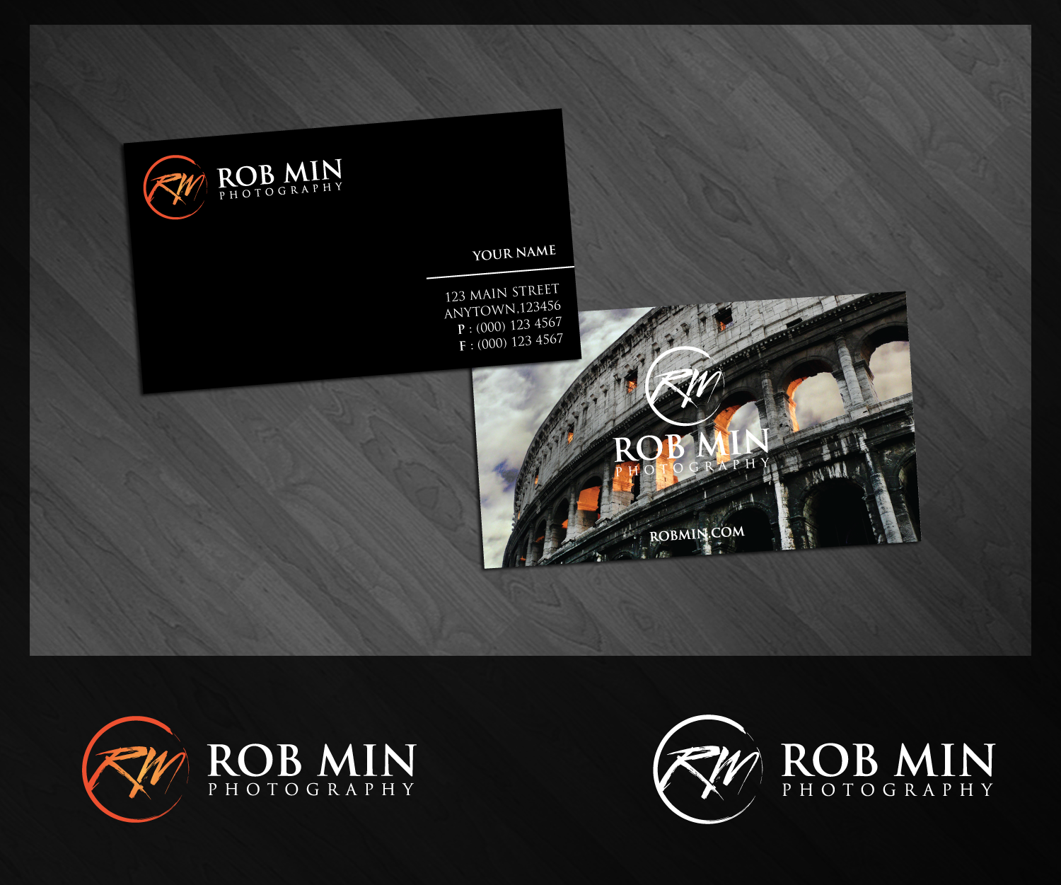 Create the next logo and business card for Rob Min Photography
