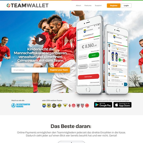 Homepage Design Concept for TeamWallet