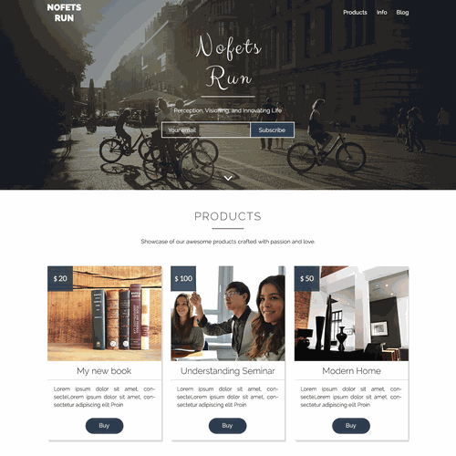 First version of landing page for Nofets Run