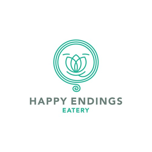 "Logo concept for casual asian food eatery ""Happyy endings"""
