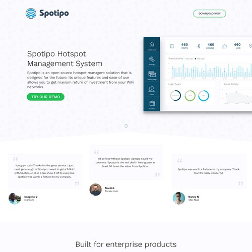 Simple dashboard landing page