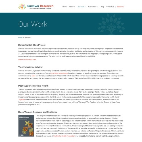 Wordpress site for Mental Health researchers and activists