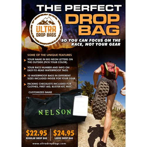 Create a sales flyer for Ultra Drop Bags