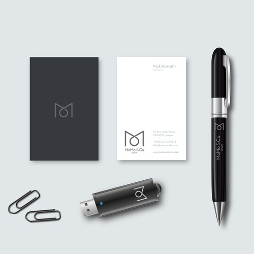 "Logo, business card and office stuff for ""Momo & Co""."