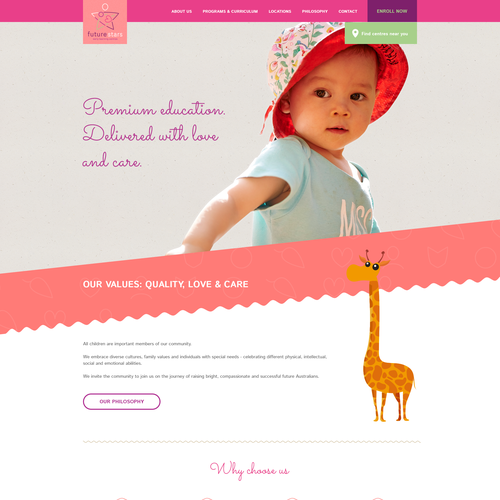 Homepage design for preschool