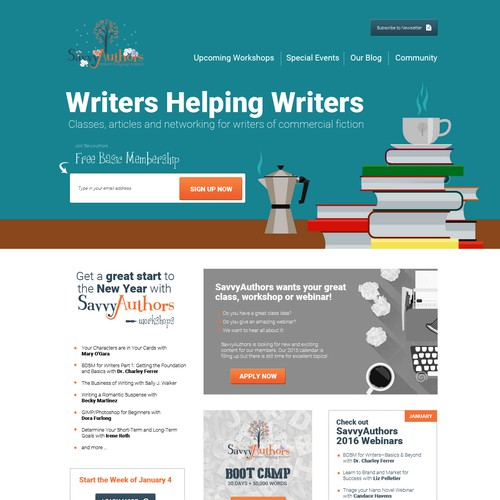 Website providing workshops for authors and writers
