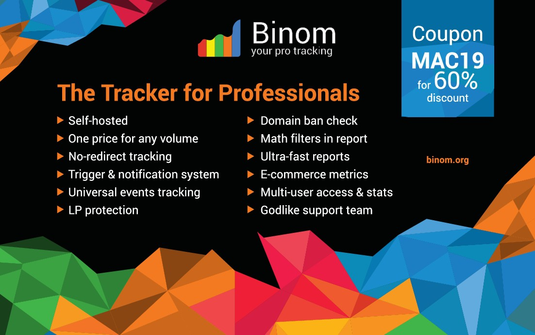 Conference Signage Design: Binom Tracker: Soft for advertising campaign analytics