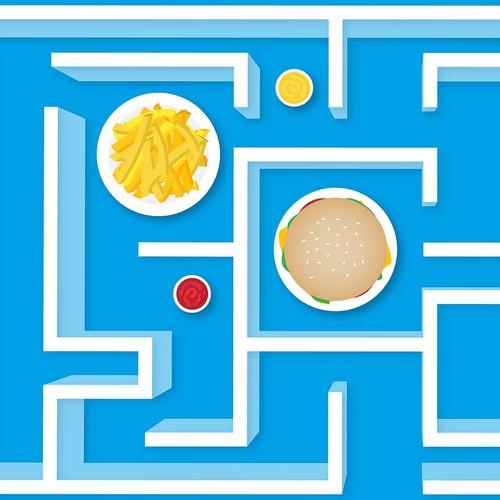 3D Floor Sticker for Fast Food Restaurant