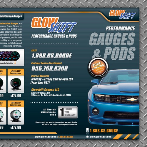 Design GlowShift Gauges New Trifold Brochure!
