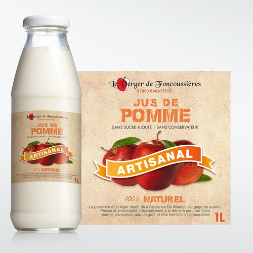 Creer une étiquette packaging jus de pommes artisanal - marketing
