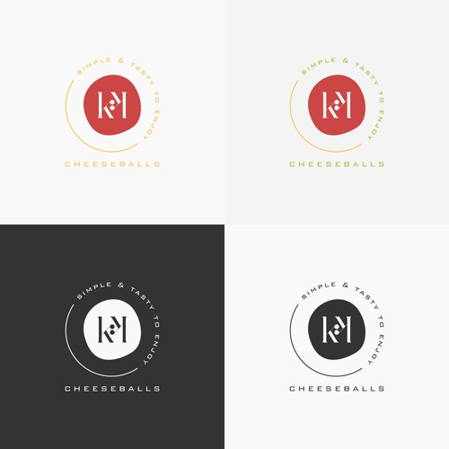 Simple and minimal logo for cheeseballs product from Brazil, KK cheeseballs.