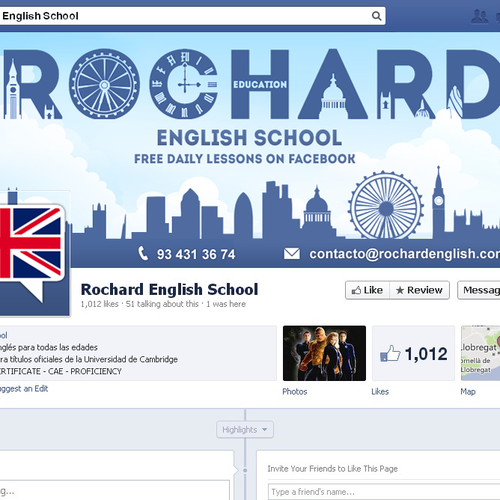 Can you make the best Facebook cover for our English Academy fan page?