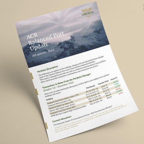Flyer for financial planning company