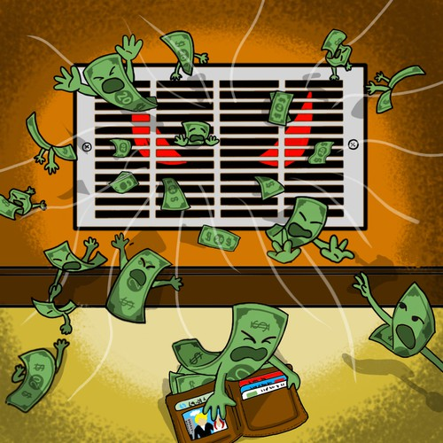 cartoon HVAC eating money