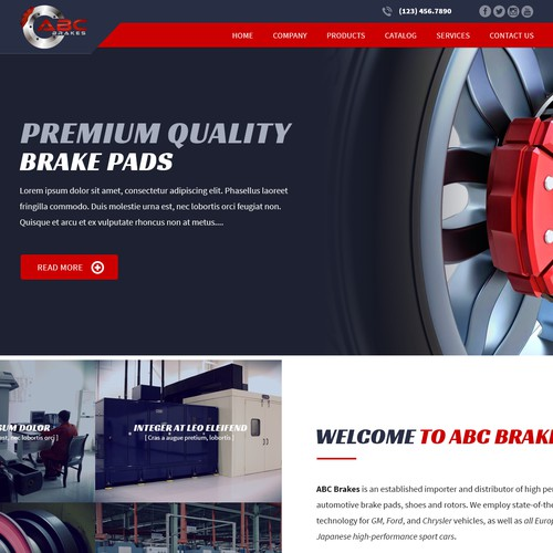 Homepage design for ABC brakes