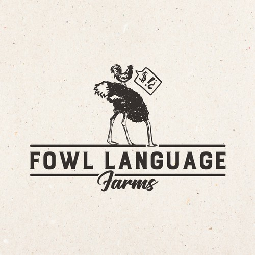 Farm logo, with ostrich & chicken