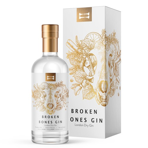 Label Design for Broken Bones Gin