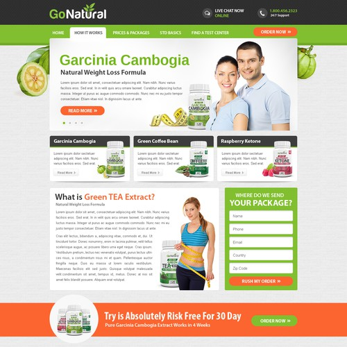 Design a website for health supplement company Go Natural!