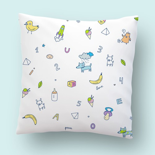 Kids fun illustration pattern for pillow