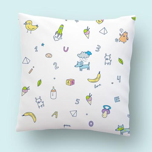 Kids fun illustration pattern for pillow