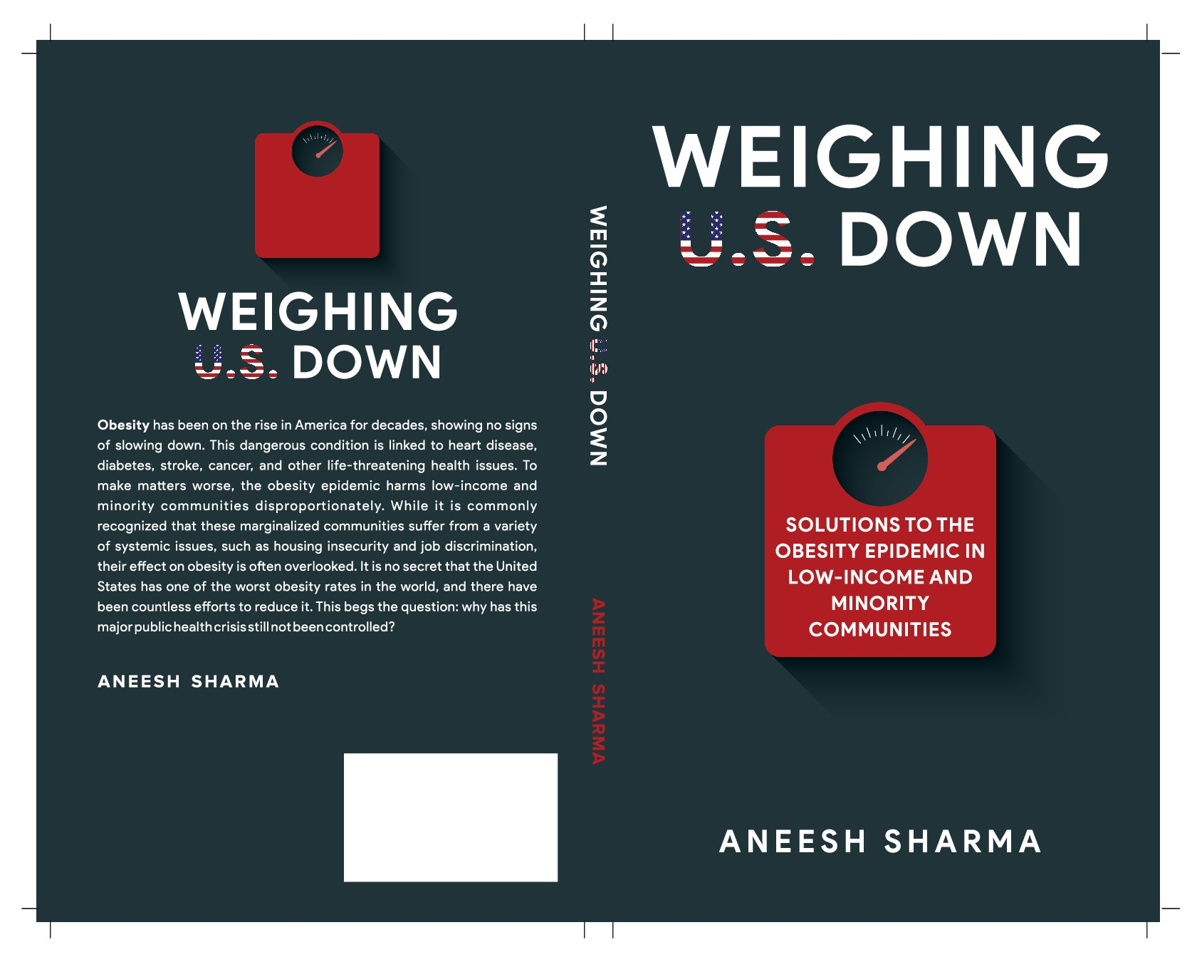 Book Cover: Non-fiction book on the obesity epidemic. Front, back, and spine - paperback & ebook.
