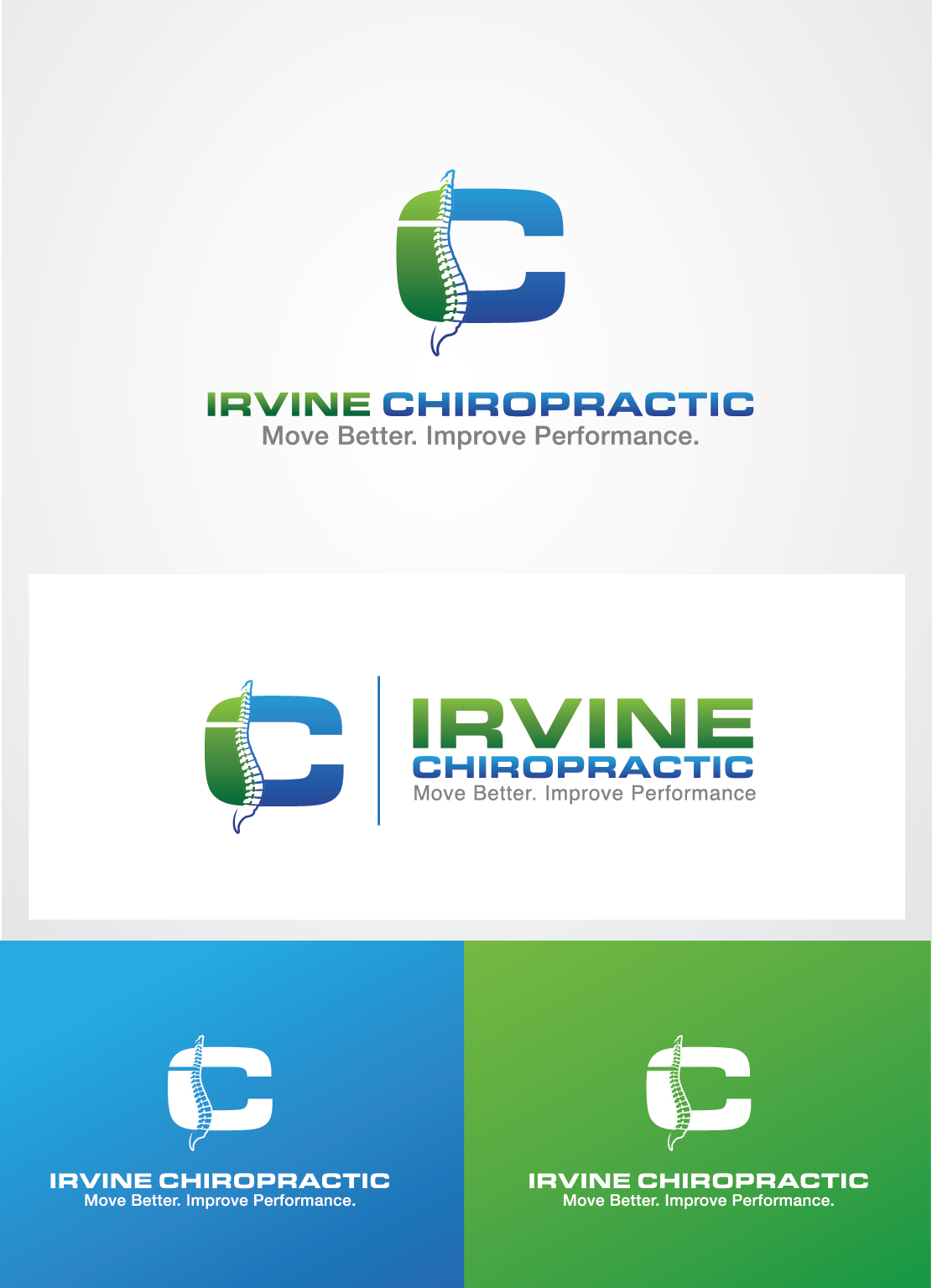 Create a Logo for Irvine Chiropractic Clinic that grabs the attention and keeps it.