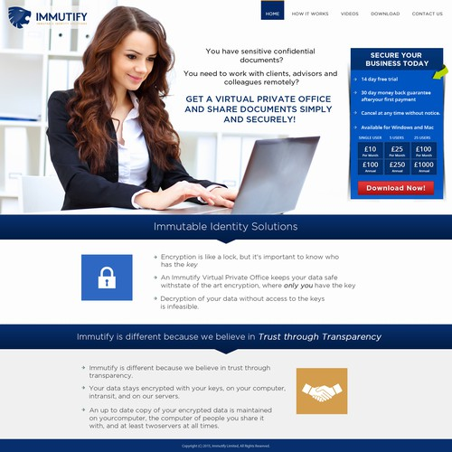 Create a compelling web landing page for our secure document exchange service