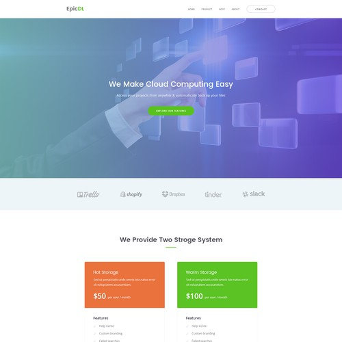 Cloud Storage Website Design Concept