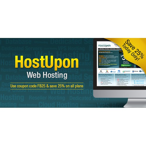 Create a clean and modern Facebook newsfeed ad for our web hosting company!
