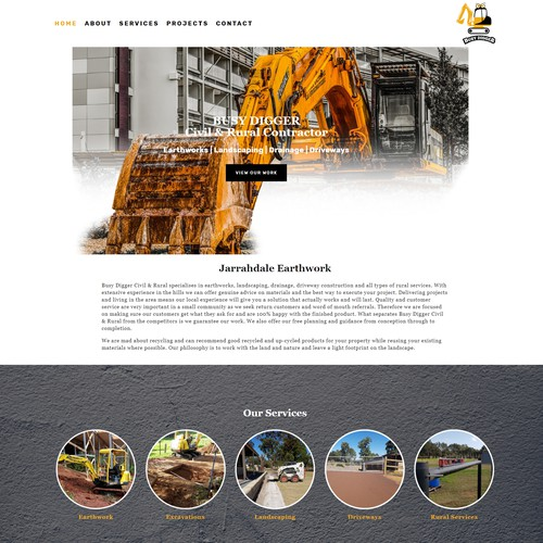 Busy Digger Contractor Website Design