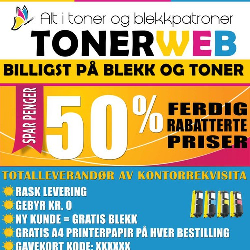 www.tonerweb.no needs a new postcard or flyer
