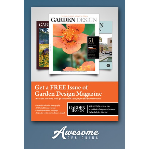 Create a classic-looking full page print ad for Garden Design
