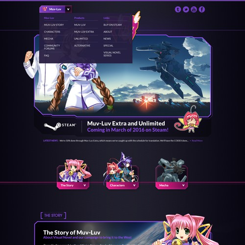 Webdesign - Homepage Design for Japanese Video Game based on Novel
