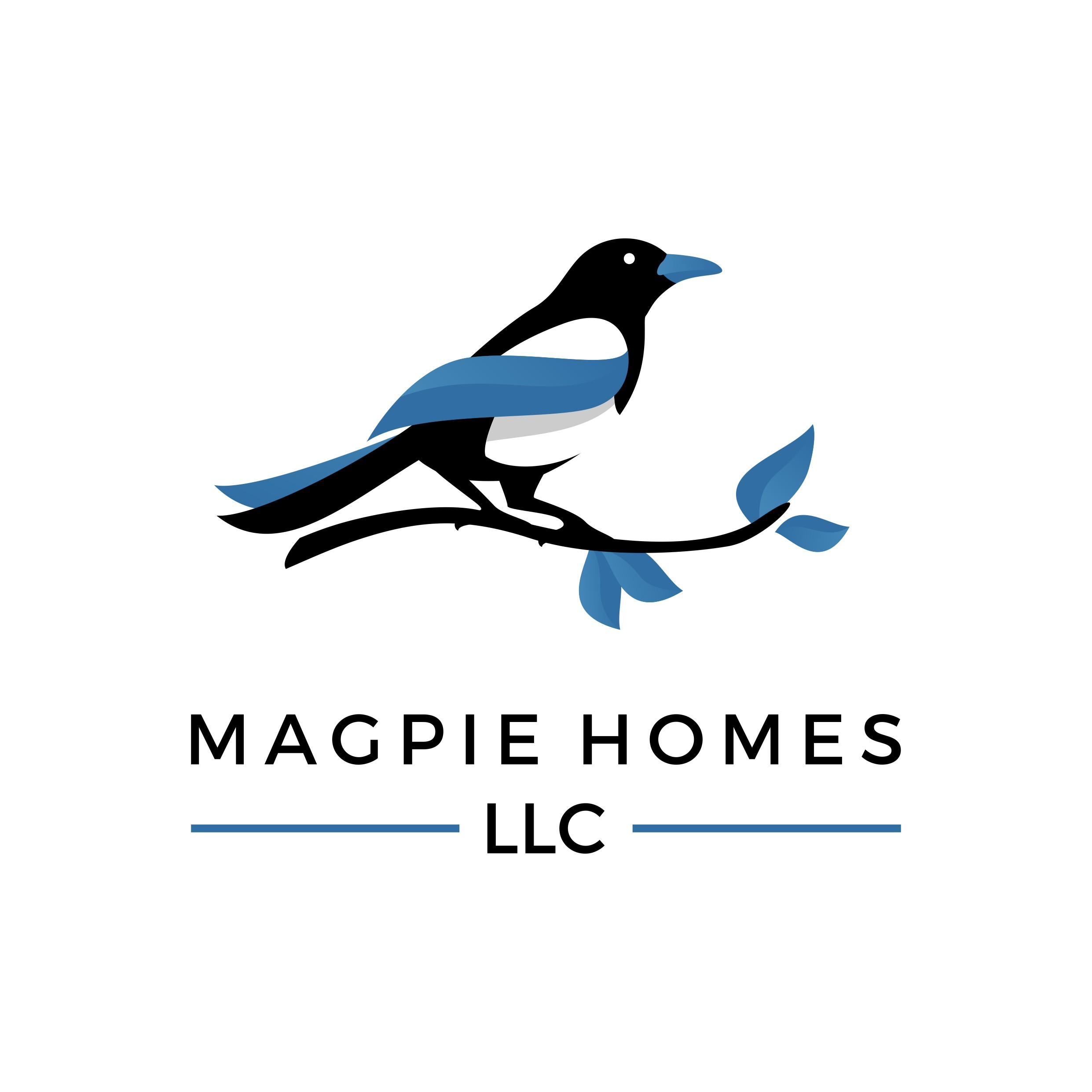 Create a solid logo to convey trust, honesty, and customer service for Magpie Homes, LLC