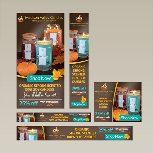 Banner ad set for Madison Valley Candles