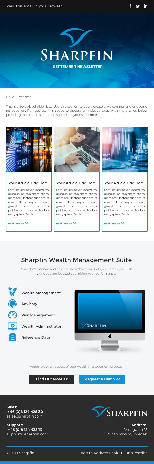 Great news letter design - Help Sharpfin boost our client base