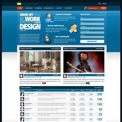 $1400 Guaranteed Prize - Graphic Designer Gallery Site Design