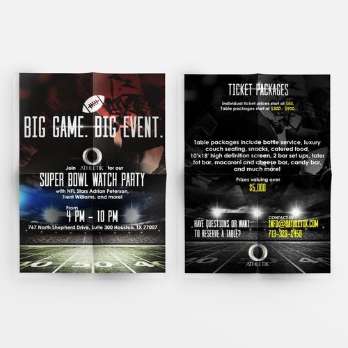 Design an eye-catching Super Bowl Watch Party flyer