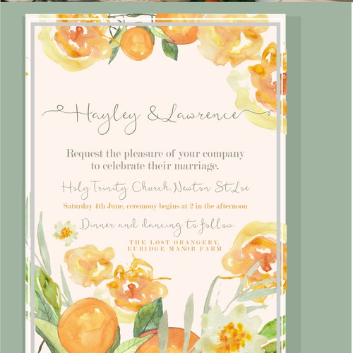 Wedding Orange Watercolor invitation