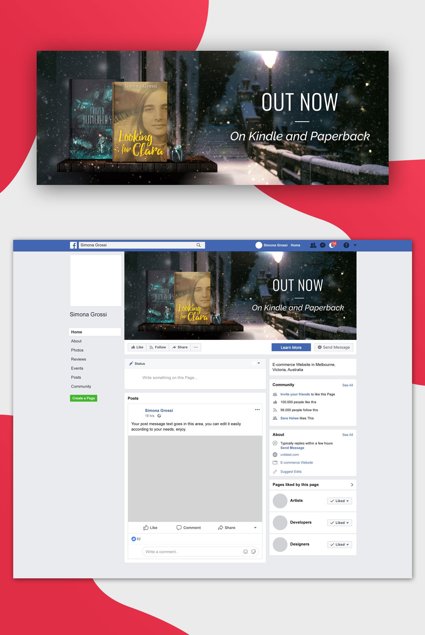 Facebook cover to promote two great books during the holidays