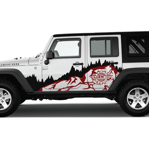 Hardcore jeep print die cut