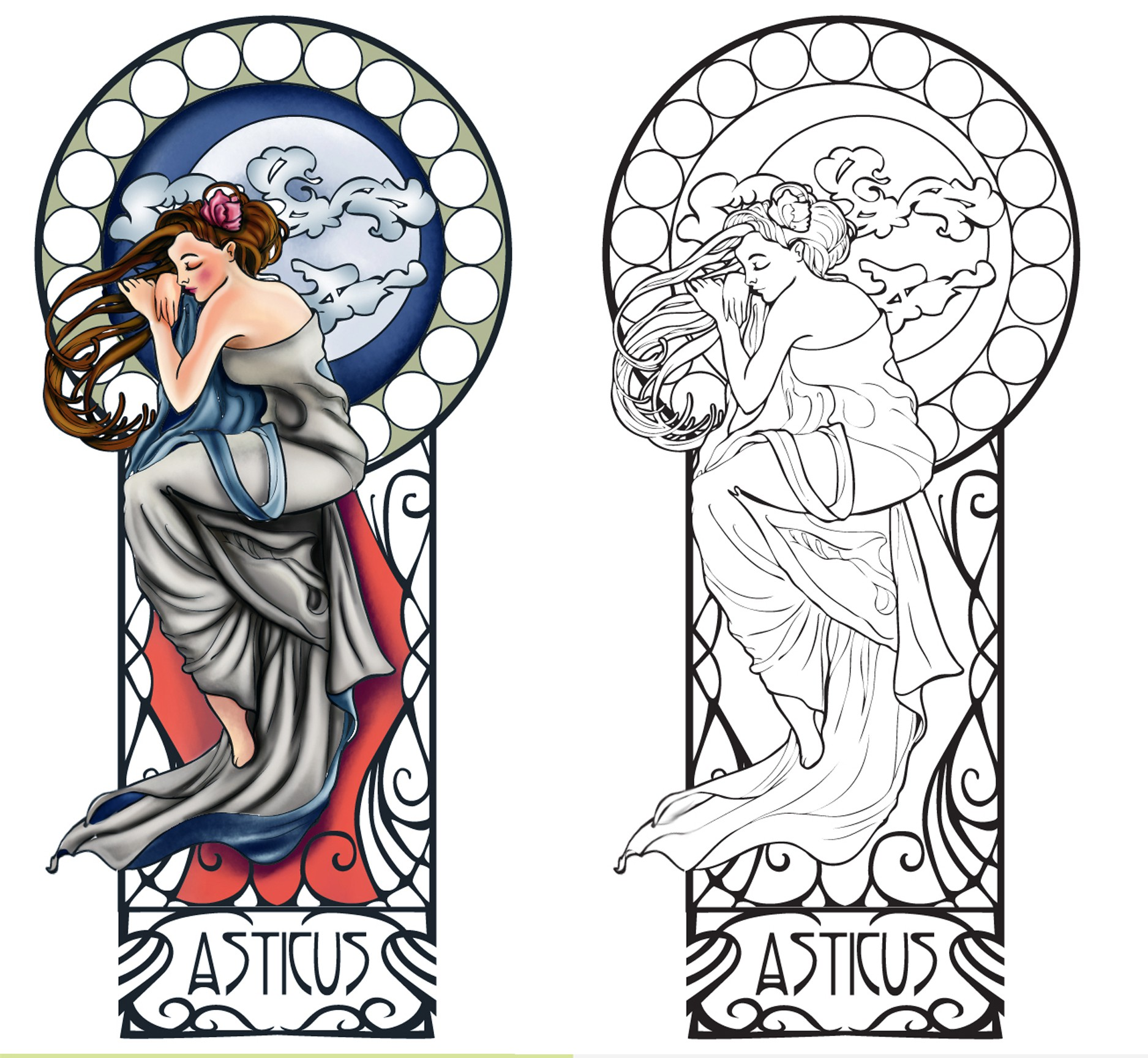 Design a tattoo based on Alphonse Mucha's Night's Rest