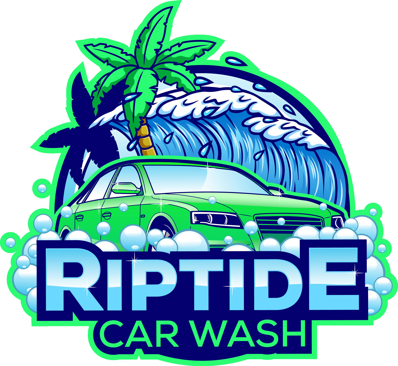 Create a playful beach-themed logo for new car wash