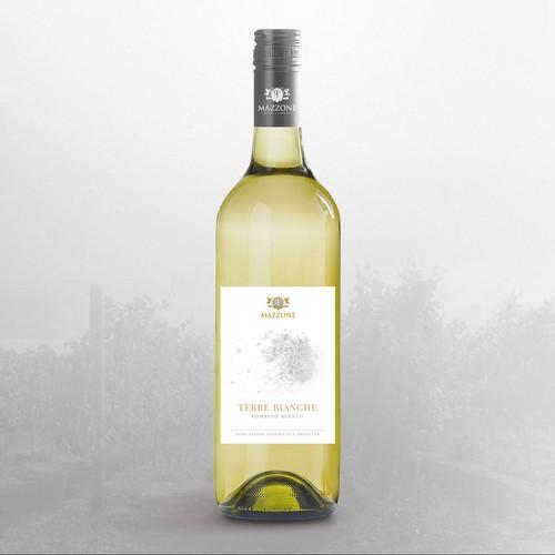 Etichetta elegante e minimale per il vino Terre Bianche