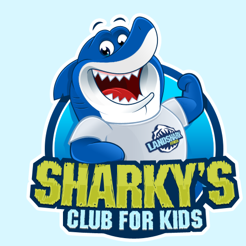 "A playful shark ""Sharky"" wearing a Landshark Fitness T-Shirt needs a new logo"