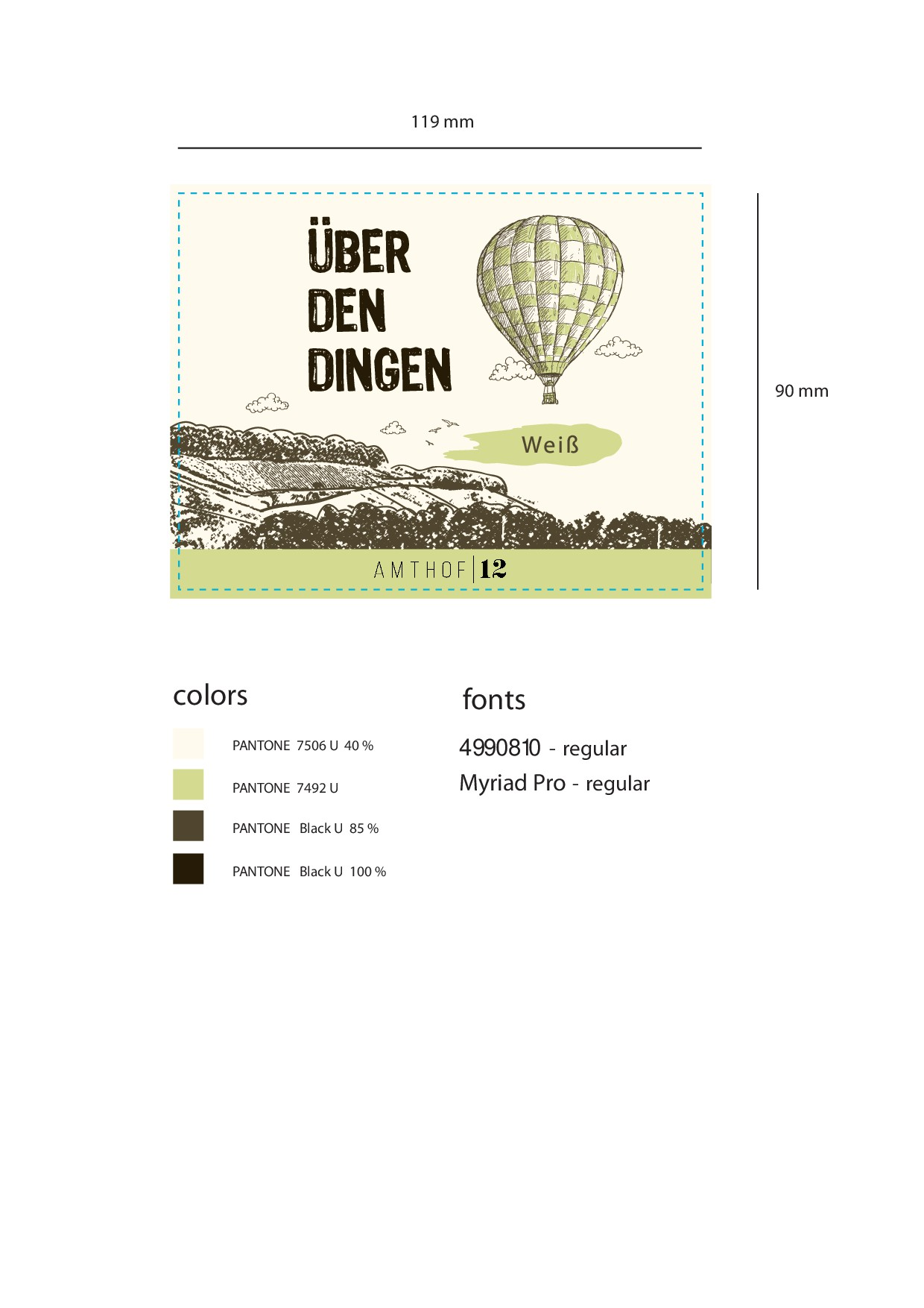 "Handcrafted, vintage wine labels for our new brand ""Über den Dingen"""