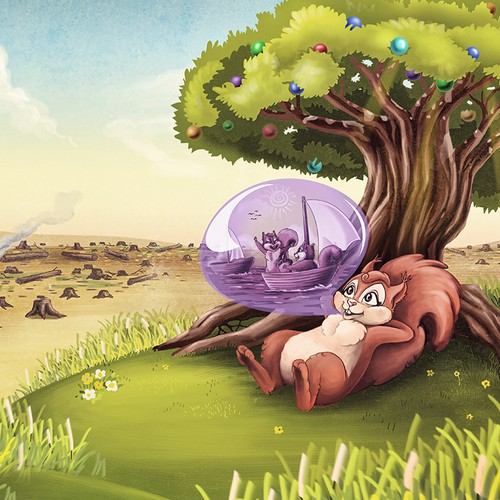 Draw a squirrel with a bubble gum dream!