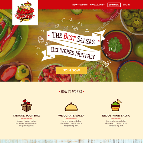 Landing Page design For a Monthly Salsa Subscription Box