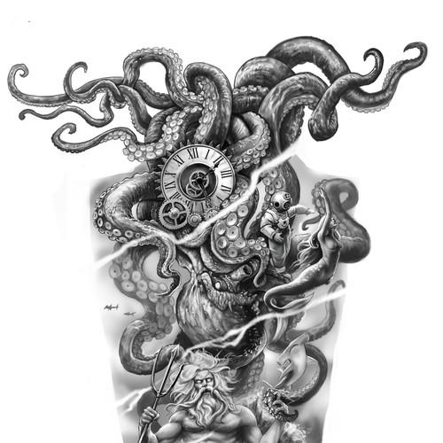 Kraken Poseidon fullsleeve